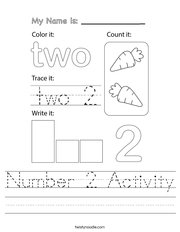 Number 2 Activity Handwriting Sheet
