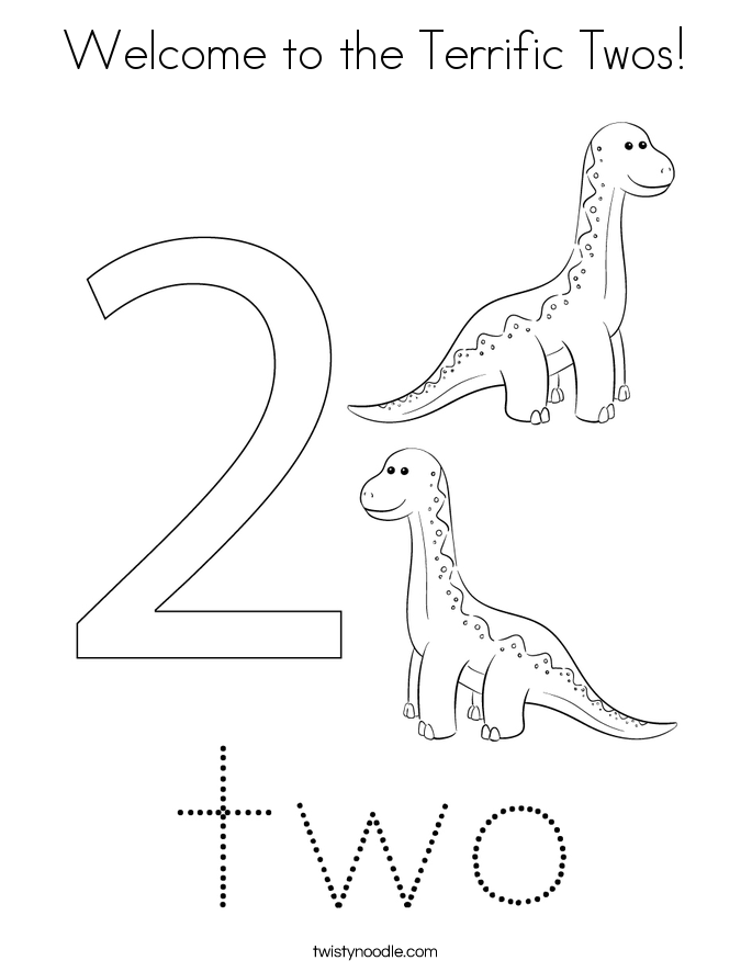Welcome to the Terrific Twos! Coloring Page
