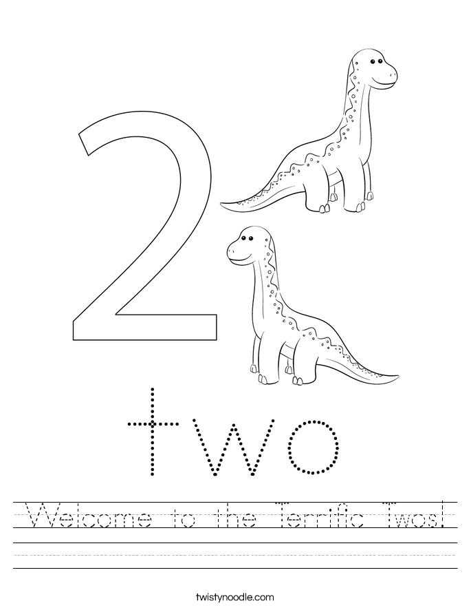 Welcome to the Terrific Twos! Worksheet