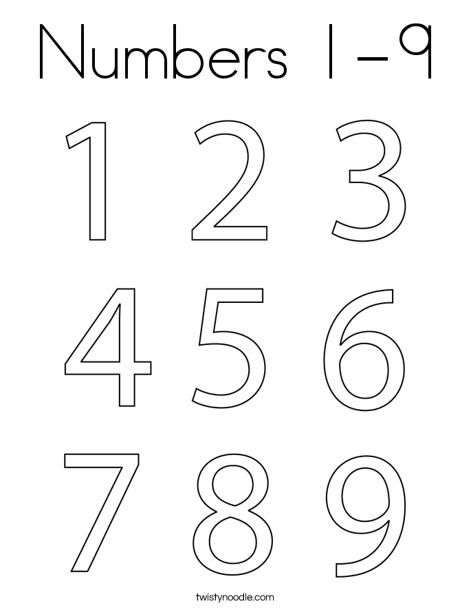 Numbers 1-9 Coloring Page