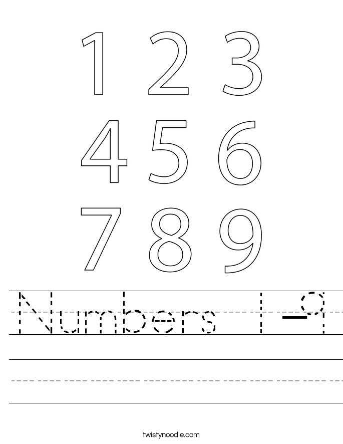 Numbers 1-9 Worksheet