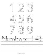 Numbers 1-9 Handwriting Sheet