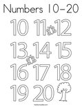 Numbers 10-20 Coloring Page
