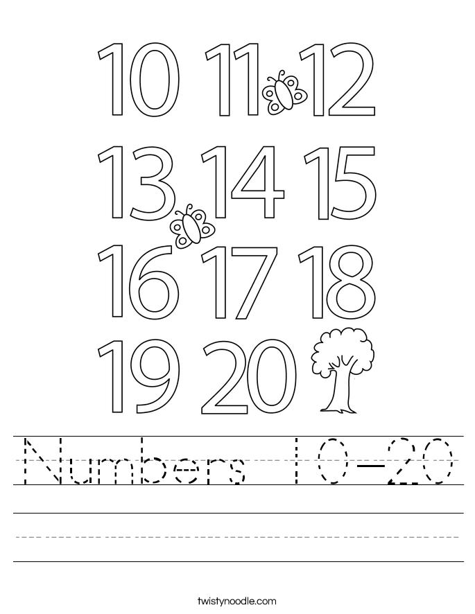 Numbers 10-20 Worksheet