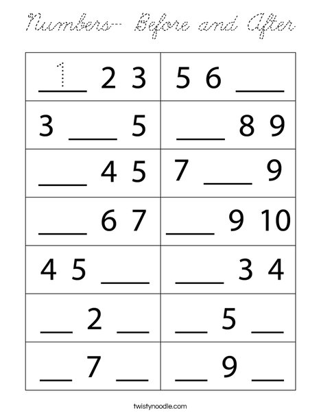 Numbers- Before and After Coloring Page