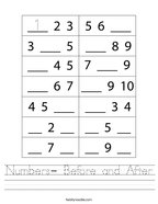 Numbers- Before and After Handwriting Sheet