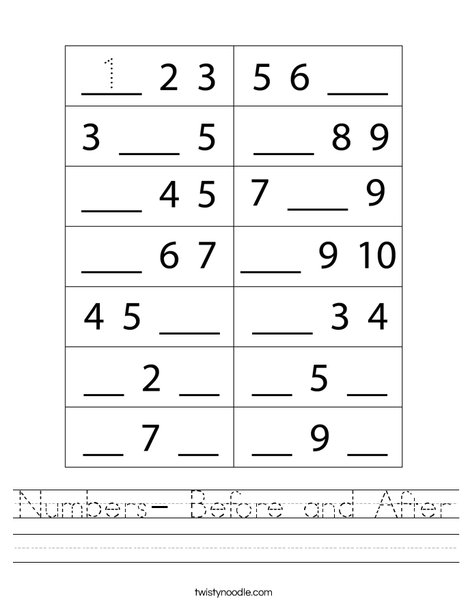 Numbers- Before and After Worksheet