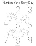 Numbers for a Rainy Day Coloring Page