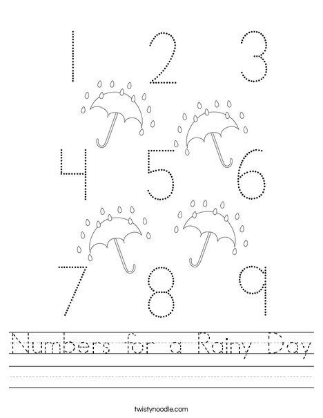 Numbers for a Rainy Day Worksheet