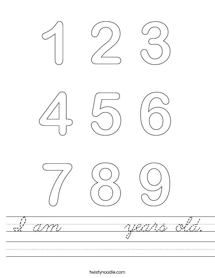 I am       years old. Worksheet