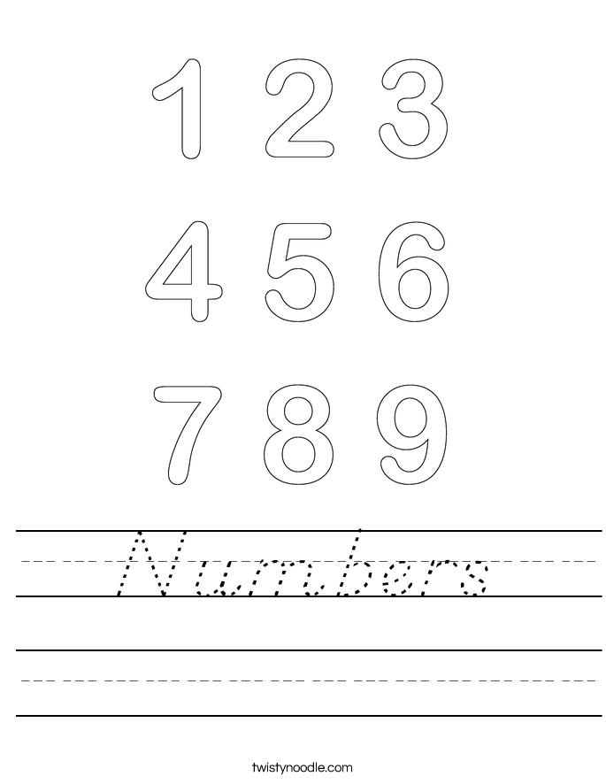 Numbers Worksheet