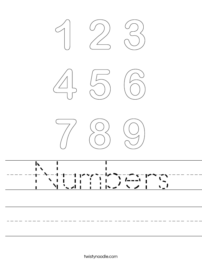 Number 1 Worksheets Twisty Noodle – Numbers Worksheets