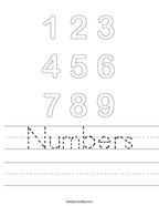 Numbers Handwriting Sheet