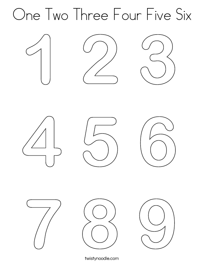 One Two Three Four Five Six Coloring Page