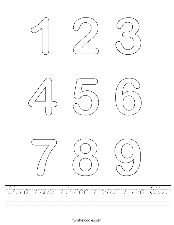One Two Three Four Five Six Worksheet