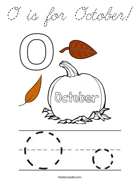 O is for October Coloring Page