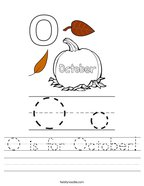 O is for October Handwriting Sheet