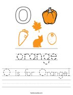 O is for Orange Handwriting Sheet