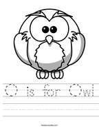 O is for Owl Handwriting Sheet