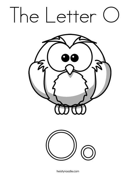 Letter O for Owl Coloring Page