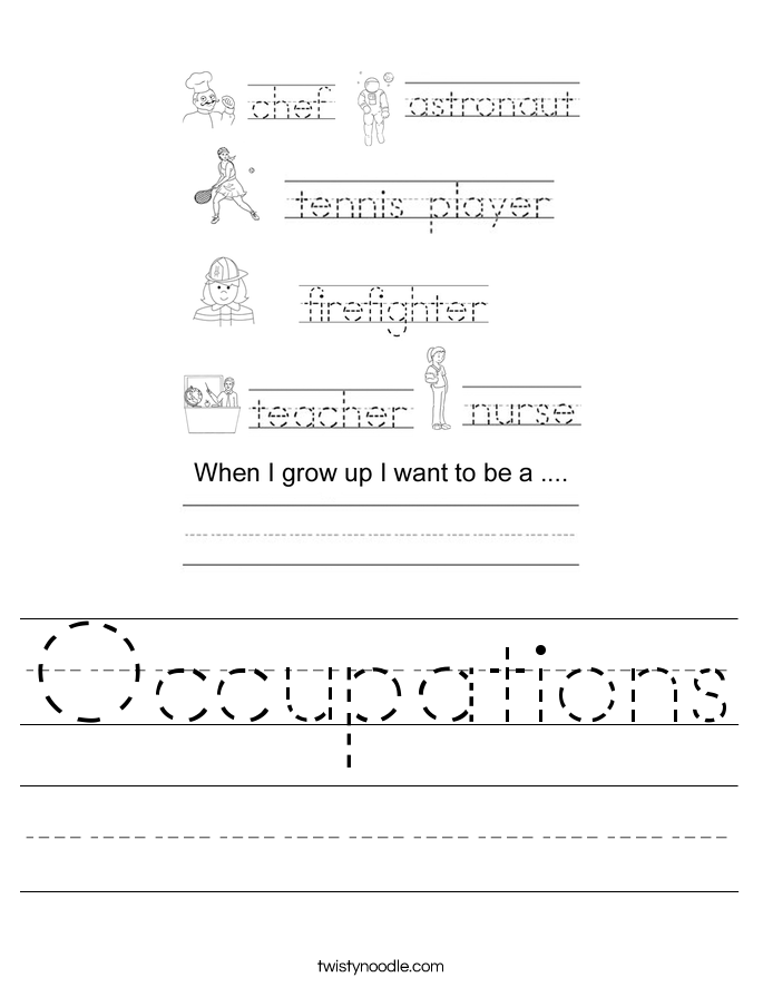 Occupations Worksheet