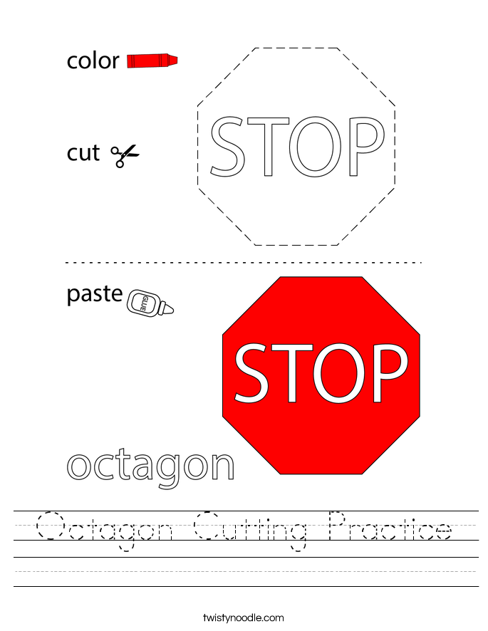 Octagon Cutting Practice Worksheet