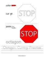 Octagon Cutting Practice Handwriting Sheet