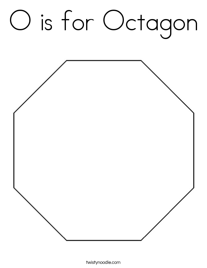 O is for octagon coloring page twisty noodle for Octagon coloring page