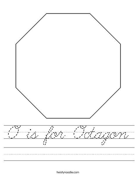 o is for octagon worksheet cursive twisty noodle. Black Bedroom Furniture Sets. Home Design Ideas