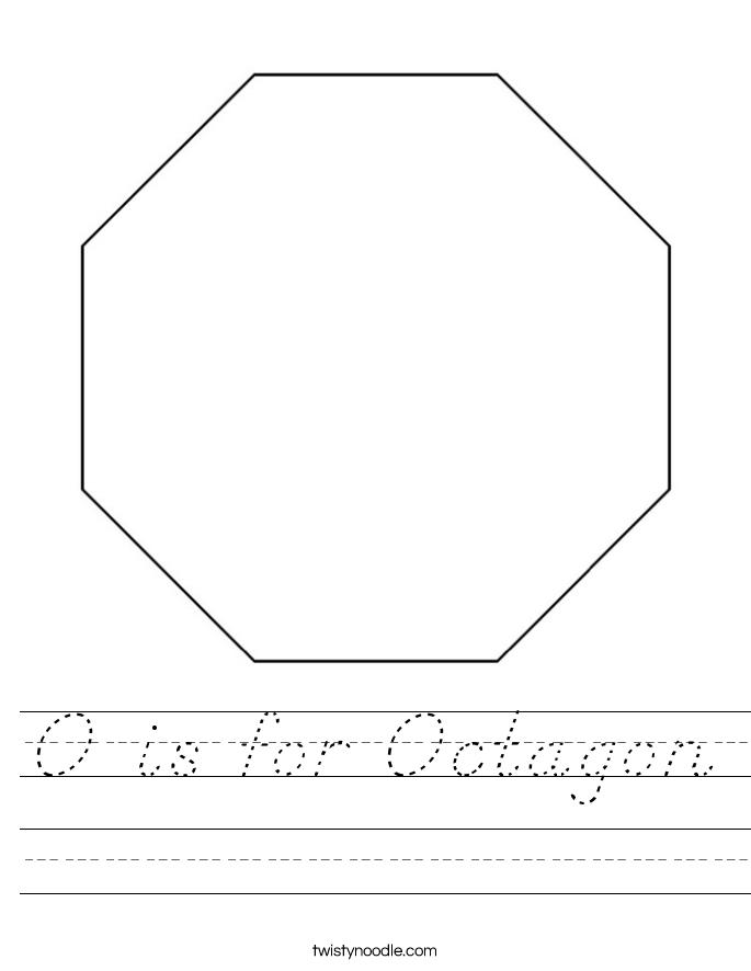 o is for octagon worksheet d 39 nealian twisty noodle. Black Bedroom Furniture Sets. Home Design Ideas