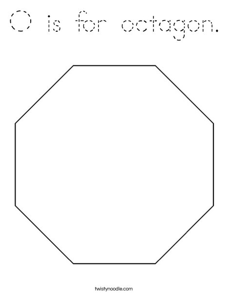 O is for octagon coloring page tracing twisty noodle for Octagon coloring page