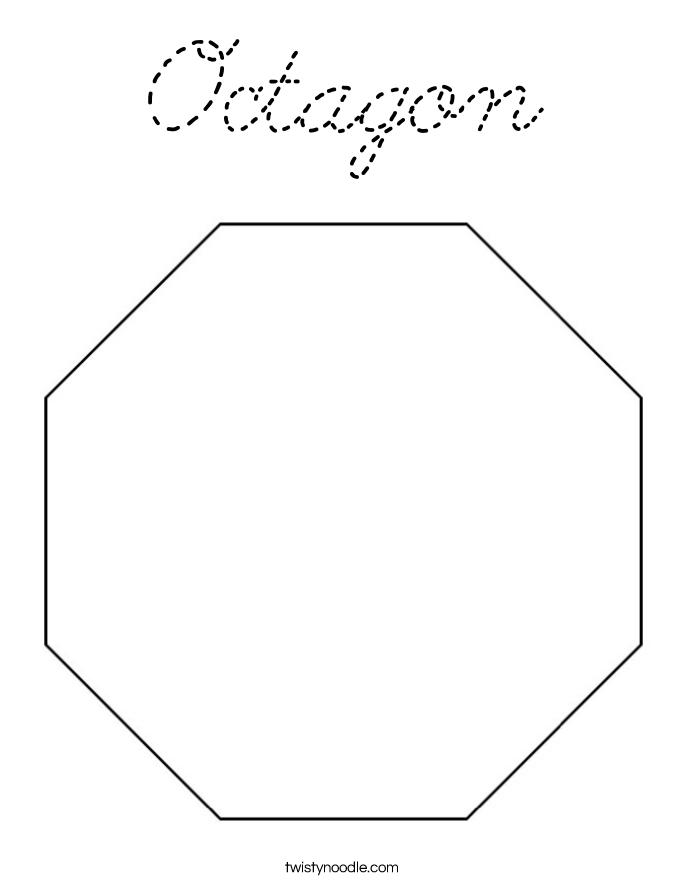 Octagon Coloring Page Cursive Twisty Noodle Octagon Coloring Page