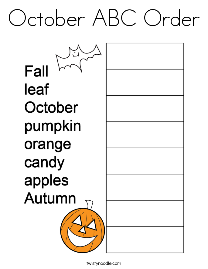 October ABC Order Coloring Page