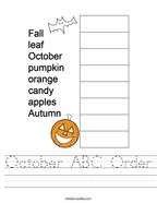 October ABC Order Handwriting Sheet