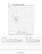 October Maze Handwriting Sheet