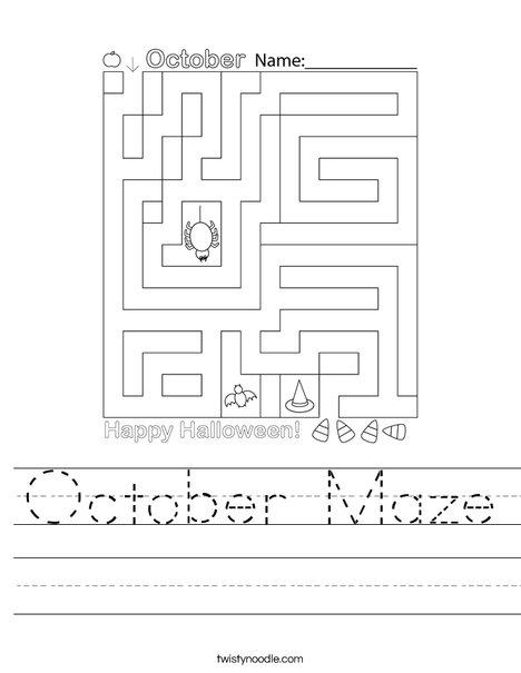 October Maze Worksheet