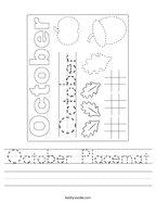 October Placemat Handwriting Sheet