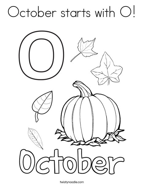 October starts with O! Coloring Page