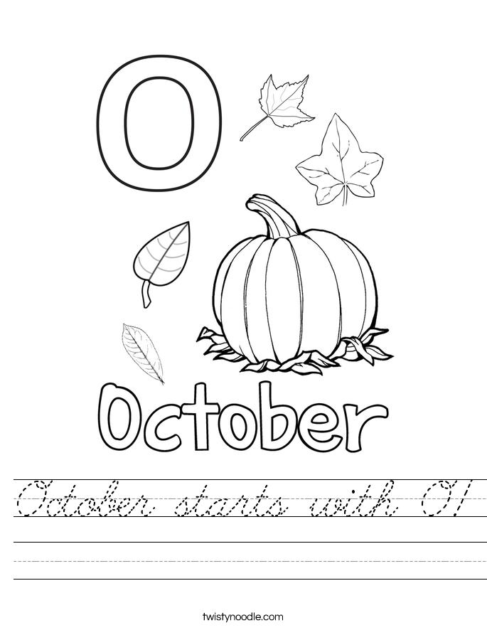 October starts with O! Worksheet