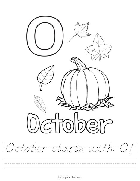 October starts with O! Worksheet