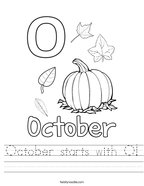 October starts with O Handwriting Sheet
