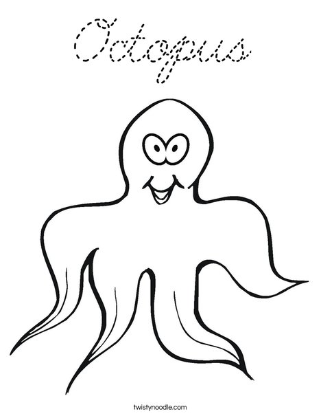 Smiling Octopus Coloring Page