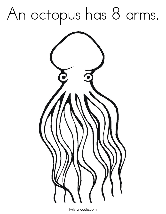 An octopus has 8 arms. Coloring Page
