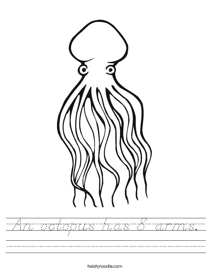 An octopus has 8 arms. Worksheet