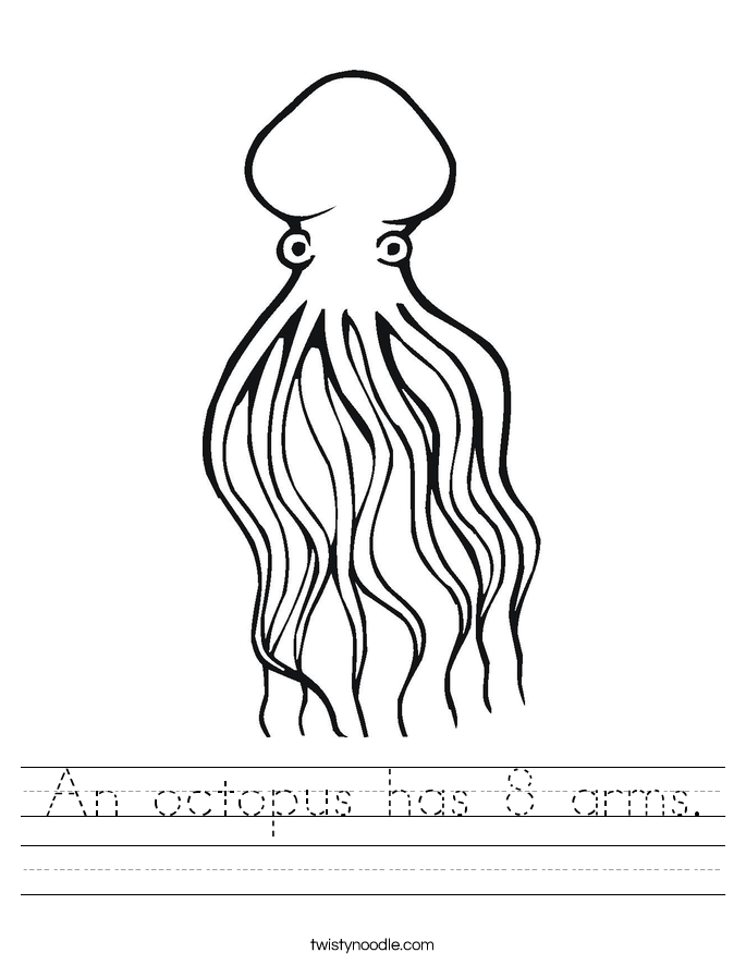 An octopus has 8 arms. Worksheet