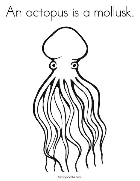 An octopus is a mollusk Coloring