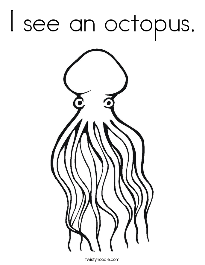I see an octopus. Coloring Page