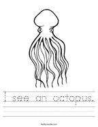 I see an octopus Handwriting Sheet