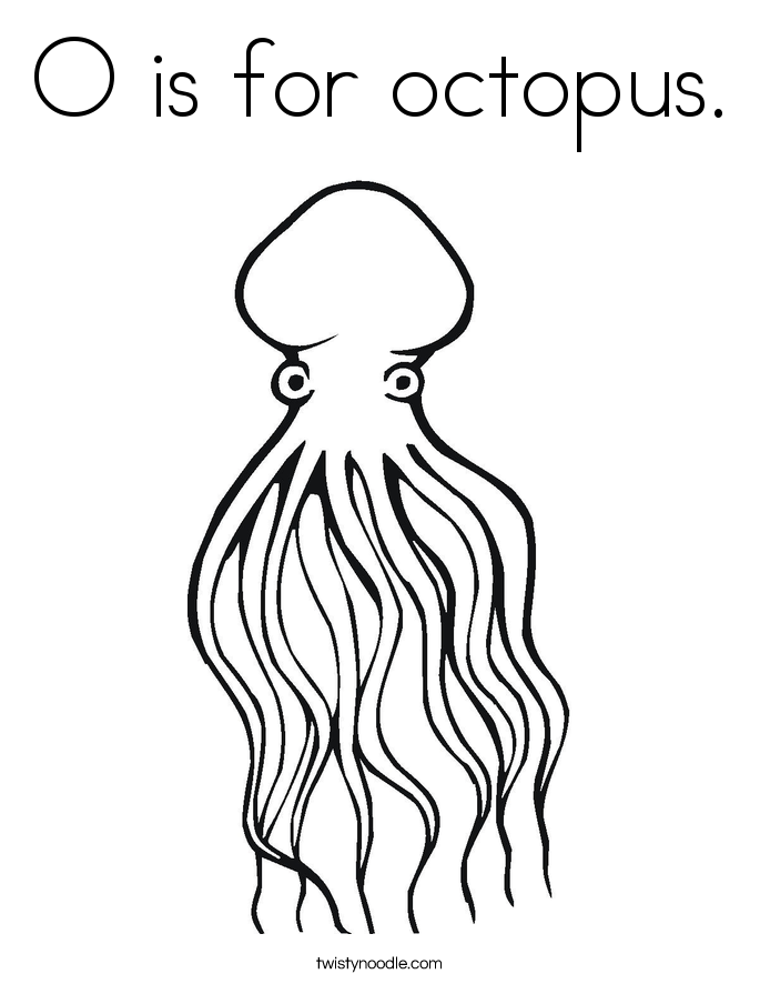 O is for octopus. Coloring Page