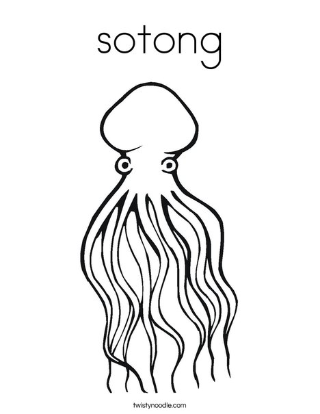 Sotong Coloring Page Twisty Noodle